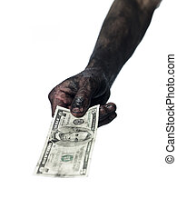 Dirty hand and a five dollar bank-note