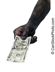Hand holding a five dollar bank-note