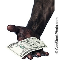 Dirty hand holding a five dollar bank note