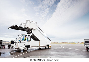 Gangway On Runway At Airport - Mobile gangway on runway at...