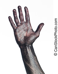 Dirty hand towards white background