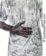 Dirty hand towards a dirty t-shirt