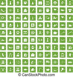 100 national holiday icons set grunge green - 100 national...