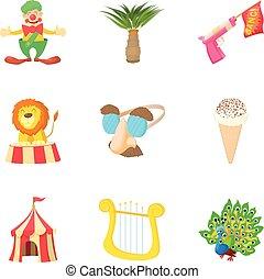 Fancy dress party icons set, cartoon style - Fancy dress...