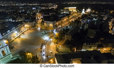 Kiev city center aerial sightseeing. Central part of the...