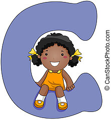 Kiddie Alphabet - Illustration of a Little Girl Sitting on a...
