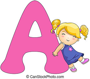 Kiddie Alphabet - Illustration of a Girl Resting Against a...