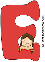 Kiddie Alphabet - Illustration of a Little Girl Resting Her...
