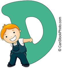 Kiddie Alphabet - Illustration of a Little Boy Carrying a...