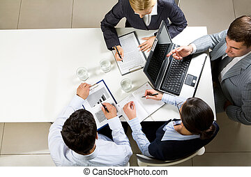Negotiations - Image of company of successful partners...