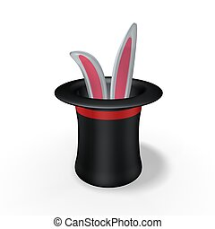 magic hat with rabbit ear on white background