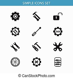 Set Of 12 Editable Mechanic Icons. Includes Symbols Such As...