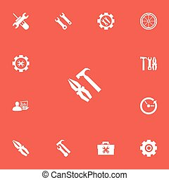 Set Of 13 Editable Repair Icons. Includes Symbols Such As...