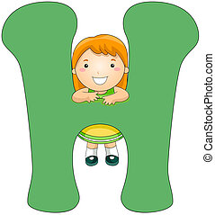 Kiddie Alphabet - Illustration of a Little Girl Clinging on...