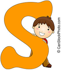 Kiddie Alphabet - Illustration of a Little Boy Hiding Behind...