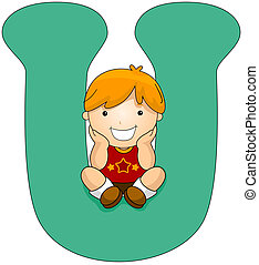 Kiddie Alphabet - Illustration of a Little Boy Sitting on a...