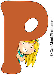 Kiddie Alphabet - Illustration of a Girl Peeking From Behind...
