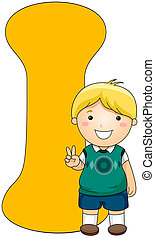 Kiddie Alphabet - Illustration of a Little Boy Posing Beside...
