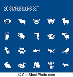 Set Of 20 Editable Zoology Icons. Includes Symbols Such As...