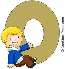 Kiddie Alphabet - Illustration of a Little Boy Holding on to...