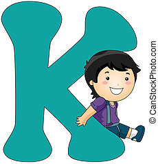 Kiddie Alphabet - Illustration of a Boy Leaning Against a...