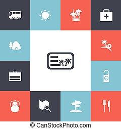 Set Of 13 Editable Travel Icons. Includes Symbols Such As...
