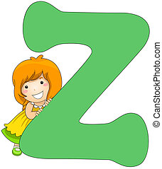 Kiddie Alphabet - Illustration of a Little Girl Leaning...