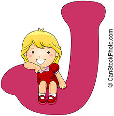 Kiddie Alphabet - Illustration of a Girl Resting Her Arm on...