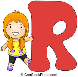 Kiddie Alphabet - Illustration of a Girl Leaning Against a...