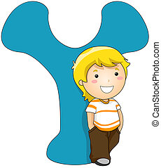 Kiddie Alphabet - Illustration of a Boy Standing Beside a...