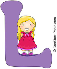 Kiddie Alphabet - Illustration of a Girl Standing on a...