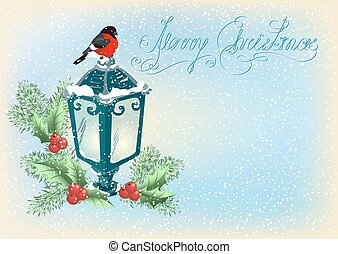 Christmas lantern with bullfinch, decorative spruce and...