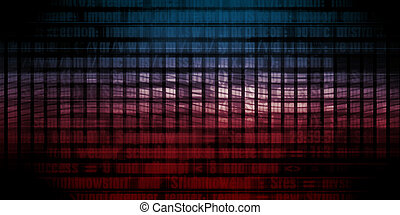 Software Solution with Blurred Code Abstract Background