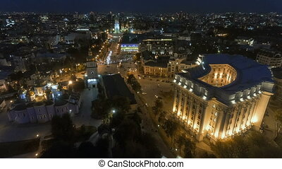 Aerial hyperlapse of Kiev old town at night. Kiev, Ukraine.