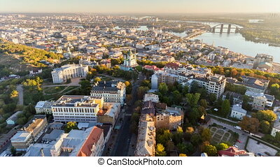 Aerial hyperlapse of Kiev old town at sunrise. Kiev,...