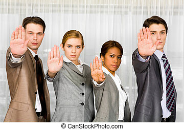 Do not approach - Photo of business people standing in line...