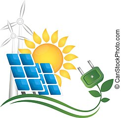 Alternative energy sources: sun and windmills