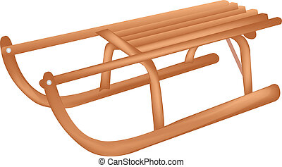 Sledge - Wooden Sledge, Isolated On White Background, Vector...