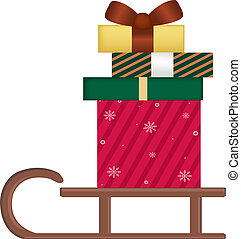 Sledge With Gifts - Wooden Sledge With Gifts, Isolated On...