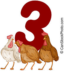 Twelve Days of Christmas - Illustration of French Hens...