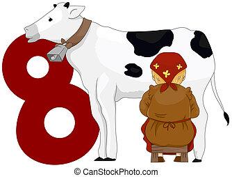 Twelve Days of Christmas - Illustration of a Milkmaid...