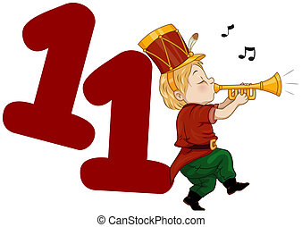 Twelve Days of Christmas - Illustration of a Piper Playing...