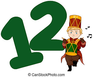 Twelve Days of Christmas - Illustration of a Drummer...