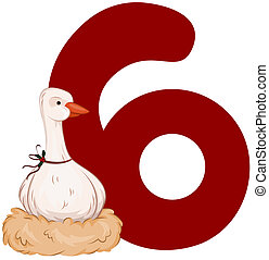 Twelve Days of Christmas - Illustration of a Goose Laying...