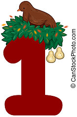 Twelve Days of Christmas - Illustration of a Partridge in a...