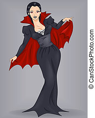 Pin-Up Girl Vampire - Illustration of a Pin-Up Woman Dressed...