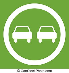 No overtaking road traffic sign icon green - No overtaking...