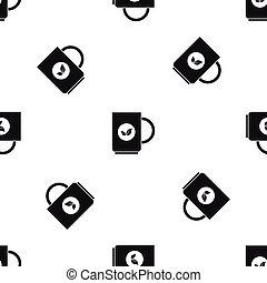 Cup of tea pattern seamless black - Cup of tea pattern...