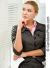 Pensive female - Photo of charming lady with pen and paper...