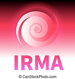 Graphic banner of hurricane Irma. Icon / sign / symbol of...